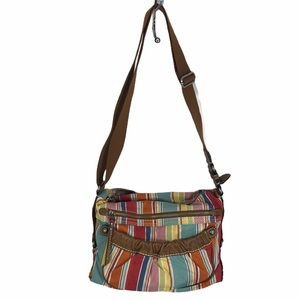 Fossil cloth and leather shoulder bag